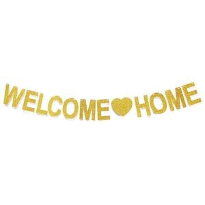Welcome Home gold glitter banner home decoration